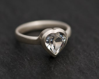 Heart Shaped Ring - White Topaz Ring - Heart Ring with White Topaz Set In Sterling Silver - Made to Order- FREE SHIPPING