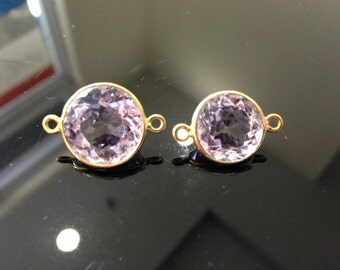 22k gold over sterling silver pink connector 14mm, 20 mm  with loops, one piece only