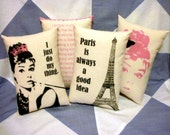 Audrey Hepburn Quotes Paris Believe In Pink Set Of 4 Cushions Pillows