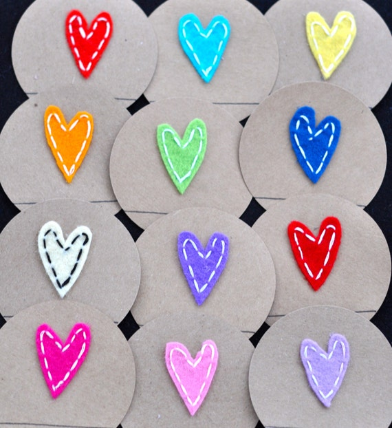 12 Felt Country Rainbow Heart Toppers:  Regular or Wide Mouth