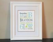 Giraffe Birth Announcement Print Baby Nursery Name Art (Blue, Gray & Green)- 8x10 Personalized Print