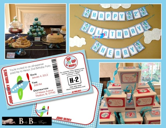 Airplane Birthday Party Pack- Up Up & Away