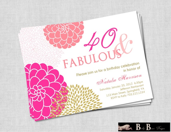 40 And Fabulous 40th Or 50th Birthday Invitation Pink Amp Gold