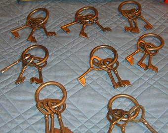 Vintage, Brass Keys,  Key Ring, Set of six. Supplies, Crafts, Key Lot,  Wall Hanging,