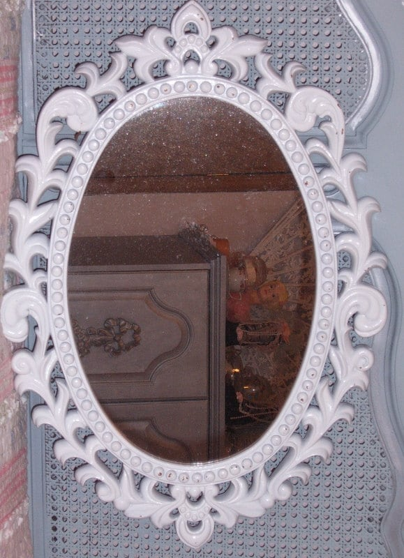 Vintage Wall Mirror Ornate Syroco Oval Mirror White
