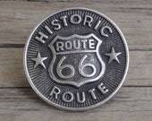 Historic Route 66 Silver Metal Shank Buttons Round 3/4""