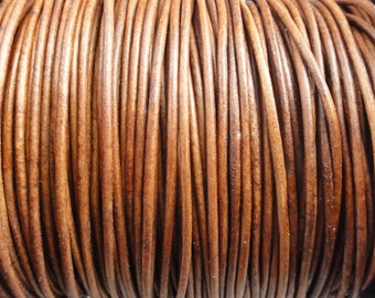 1mm Light Brown Distressed Leather Cord Round Natural Dye - 1.0mm leather cord