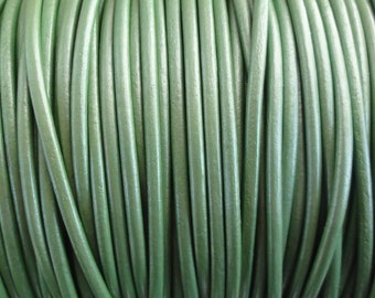 2mm Leather Cord Metallic Juniper Green - 2 Yard Increments