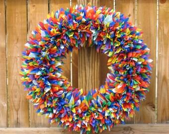 Rainbow Wreath --- Indoor Outdoor Wreath --- Spring Wreath --- Outdoor Wreath --- Party Decor --- Door Wreath --- Summer Wreath