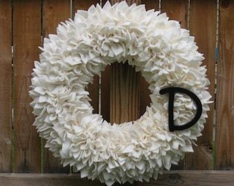 Personalized Wreath --- Ivory Wreath --- Fleece Wreath --- Door Wreath --- Indoor Wreath --- Off White Wreath --- Cream Wreath -- Rag Wreath