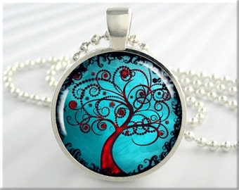 Turquoise Tree Pendant, Resin Necklace, Tree Of Life Jewelry, Turquoise Red Accessory, Round Silver, Tree Gift ( 521RS)