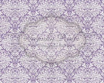 8ft x 7ft Vinyl Photography Backdrop / Purple White Damask / Light Vintage