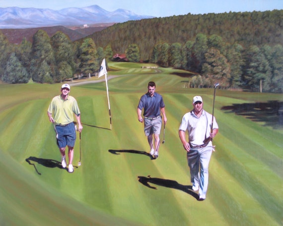 Custom Painting - Oil Painting - Golf Themed - Landscape Art - Golf Painting