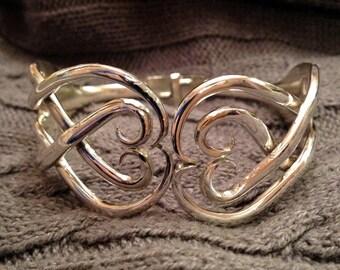 Double Fork Cuff Bracelet - Double Heart