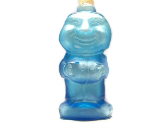 Collectible  Blue Tiara Man Glass Water Bottle Vase