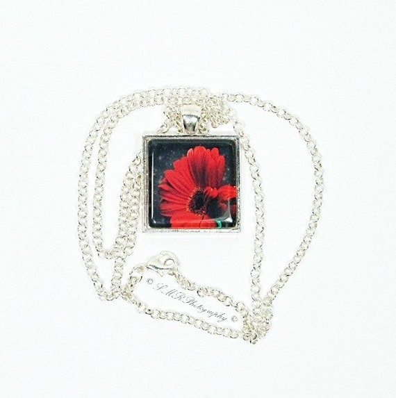 Red Gerbera Photo Tile Necklace - LMR Photography 2