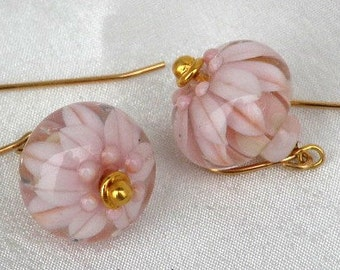 Pale pink flowers in glass orbs, Under the sea Pink, Innocent Pink, SRA lamp-worked glass, Glass drop earrings