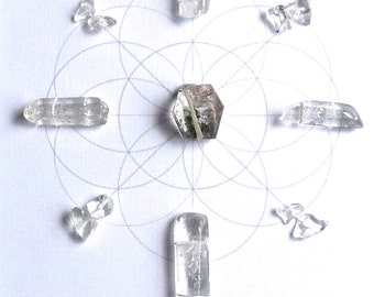 INFUSE POSITIVE ENERGY ---framed sacred crystal grid --- clear quartz, quartz with hematite inclusions --- seed of life