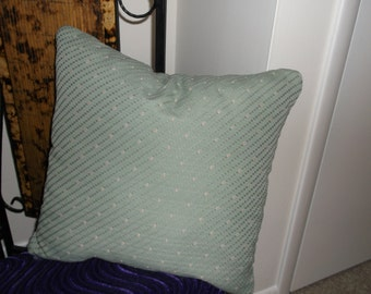 Gray Washed Very Soft Green Accent Pillows,  Soft And Pretty, Reads As A Neutral,  With Tiny Cream And Rose,  By Pillowinno