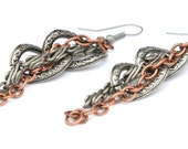 Pewter and Copper Chain Earrings