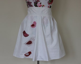 CLEAR OUT !!! Handmade white high-waisted skirt with applique birds: size UK 10-12 waist 30""