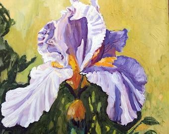 Painting-Floral-Iris Flower-Modern style-Oil on Board-Wall Art by Diann