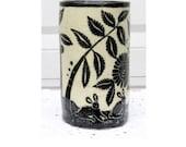 Handmade Porcelain VASE with Sgraffito Bunnies, Landscape Black & White Pottery Folk Art