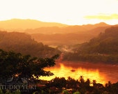 Travel Photography Laos, Sunset, Boat, River, Asia, Tangerine, Orange, Golden, View, Fine Art Print - Song Of Two Rivers