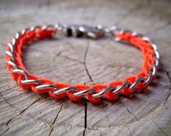Orange Chain Bracelet With Elephant