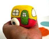 Needle Felted Pink and Yellow Retro RV- Natural Toys
