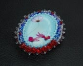Bead Embroidery brooch Poppy blue red cameo glass beadwork brooch with crystals OOAK Ready for shipping
