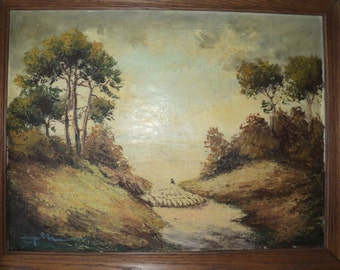 Antique Oil Painting of  A Shepherd and His Flock of Sheep Landscape Scene signed by The Artist with a wonderful well developed Patina