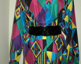 Vintage MOD ABSTRACT SILK Blouse, Size 8,  in Very Good Condition with Harlequin looking design in bright, vibrant retro neon colors