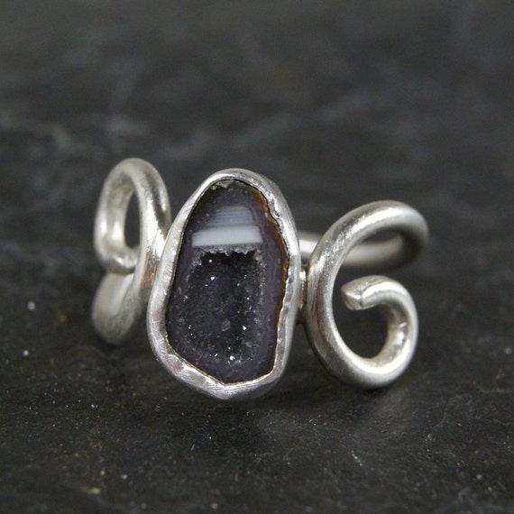 Grey Lavender Geode and Swirls Ring in Sterling Silver