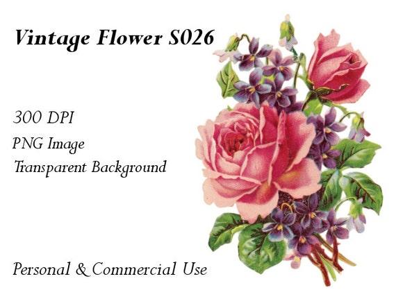 Vintage Flower Clip Art Transparent Png File S026