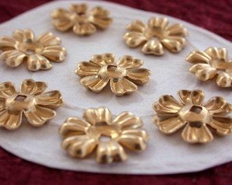 Brass Flower Stampings, Metal Stamped Flowers, Vintage Style Metal Flowers STA-049
