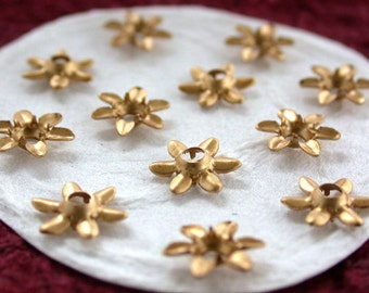 Raw Brass Flowers Vintage Style Supplies, Collage, Hair Craft Supplies, Jewelry Supplies, Made in USA, Wedding Supplies, Enameling  STA-082