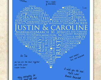 personalized wedding word art, WEDDING GUESTBOOK SIGNATURE poster, Wedding heart Guestbook, 20x30 Signature Guest Book, love words poster