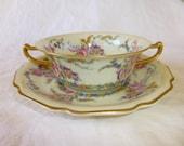Vintage Rosenthale Ivory Bavaria Bavarian Cream Soup Cup  Saucer Linnie Lee Gold Trim Collectable China Porcelain Dish