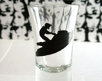Ski-Do, FUN on the WATER 2 oz. Shot Glass Hand Painted, signed by the artist