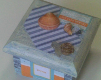 GIFTS for Him/Her, CYBER Sale on Decor, Gift Boxes, Beachy Decor, Blue Beachy Trinket Box, OOAK Jewelry Boxes, Custom Designs, Holiday Sale
