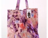 Big canvas shopper with purple & pink tie-dye print