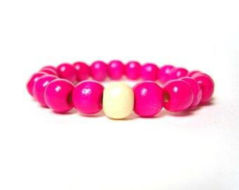 Neon Pink Bracelet, Wooden Bead Bracelet, Big Beaded Bracelet, Color Block Jewelry, UK Seller