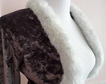 SALE Vintage Cropped Jacket, Fake Fur Bolero, Brown Short Jacket, Brown Panne Velvet, Norma Kamali, Vintage Clothing,Disco Era Retro Fashion