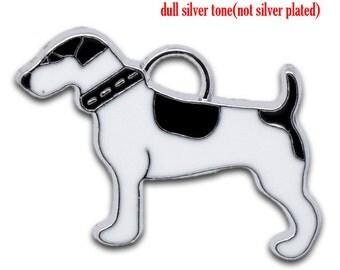 SALE 5 Dog Charms Pendants Silver Enamel 26x18mm  - Ships IMMEDIATELY  from California - E39