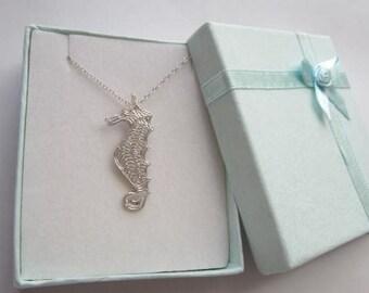 Sea Life Collection Silver Seahorse Necklace Silver Seahorse pendant Handcrafted Seahorse Necklace