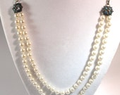 SALE- Cream Pearl Necklace, Double Strand Hand Knotted Antique Brass Vintage Style
