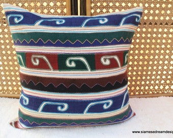 Primitive 18 Inch Pillow Cover in Appliquéd Akha Tribal Symbols, Ethnic Cushion, ** Free Worldwide Shipping **