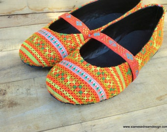 Orange Ethnic Hmong Embroidered  Ballet Flats Womens Shoes - Micha