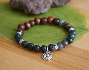 Yogi inspired wood bead bracelet with yin yang symbol, jade, lava stone, buddha bracelet for men